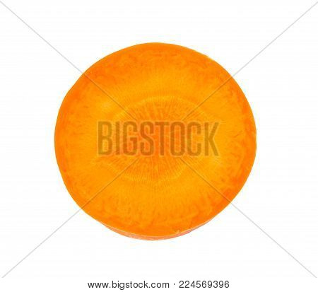 Close Up Top View Of Fresh One Carrot Slice Isolated On White Background, File Contains A Clipping P