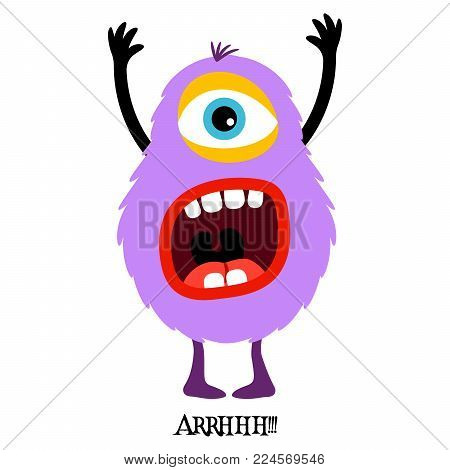 Cute print for t-shirt design with funny monster and text arrhhh. Vector illustration