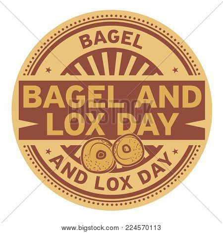 Bagel and Lox Day rubber stamp, vector Illustration