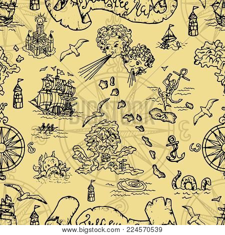 Seamless background with fantasy creatures and pirate treasure map elements. Pirate adventures, treasure hunt and old transportation concept. Hand drawn vector illustration, vintage background