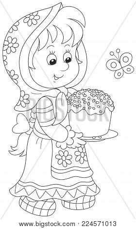 Little girl in a traditional dress with a decorated Easter cake, a black and white vector illustration for a coloring book
