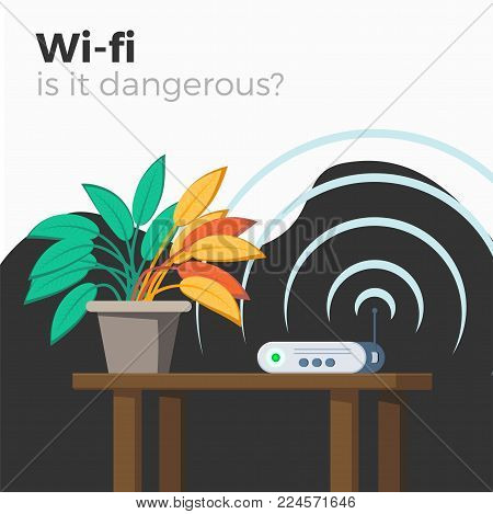 Wi-fi danger vector illustration. Harm of radio waves concept. Wifi router emitting signal, which makes green leaves of plant to fade yellow. Flat style, isolated.
