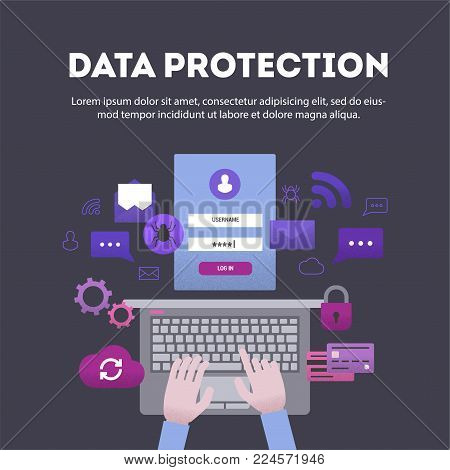 Banner flat design with effect of stipplism data protection on dark background. Hands at computer, entering password and threats to security of information, vector illustration