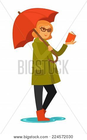 Woman in eyesight glasses, warm autumn coat and bright rubber boots stands under orange umbrella in small rain puddle and reads book isolated cartoon flat vector illustration on white background.