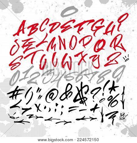 Handwritten graffiti font alphabet. Artistic hip hop typography collection. Custom vector calligraphy graphic set.