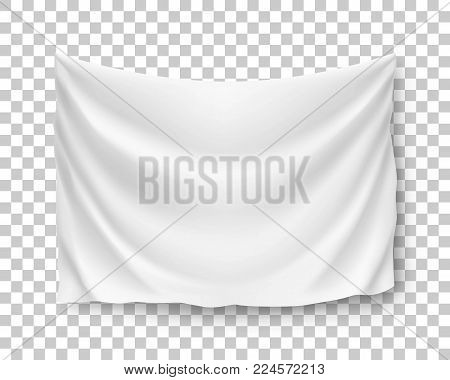Wide horizontal standard, banner, streamer, mockup, isolated on transparent background. Outdoors information ridgepole for inscriptions, slogans, mottos and so on. Vector illustration of canvas
