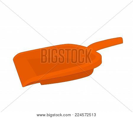 Orange plastic dustpan equipment isolated, illustration design