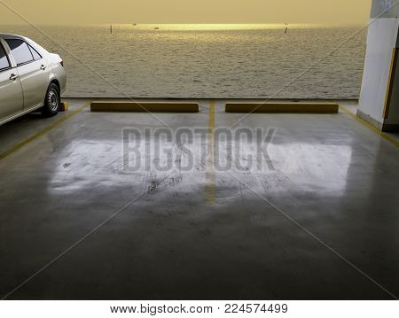 indoors empty parking car with sea background