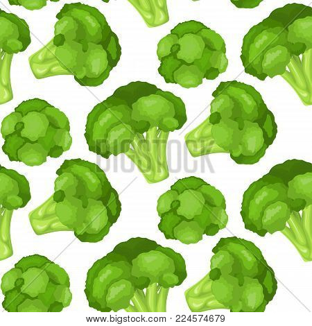Seamless fabric. Vitamins and minerals head of a flower of broccoli. High quality vector illustration of broccoli, vitamins, vegetables, healthy food, nutrients, diet, etc