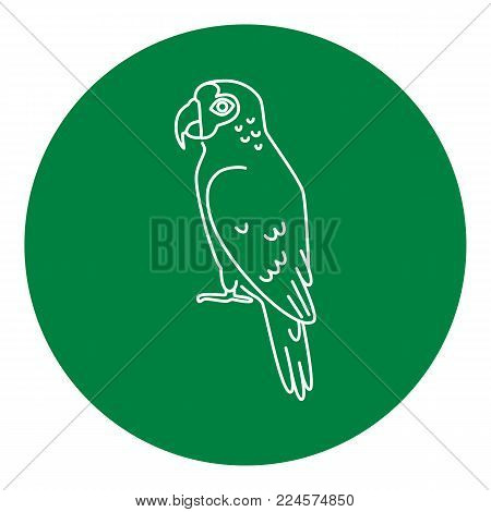 Amazon parrot icon in thin line style. Exotic tropical bird symbol in round frame.
