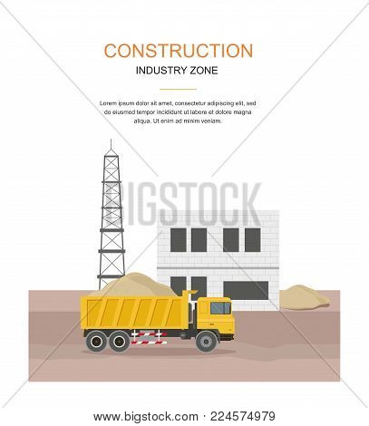 Building Factory Industry Zone. Construction Specialized Transport And Lorry