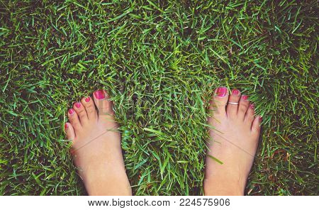 pretty bare feet of a woman standing in lush green grass with painted nails and a toe ring on toned with a retro vintage instagram filter
