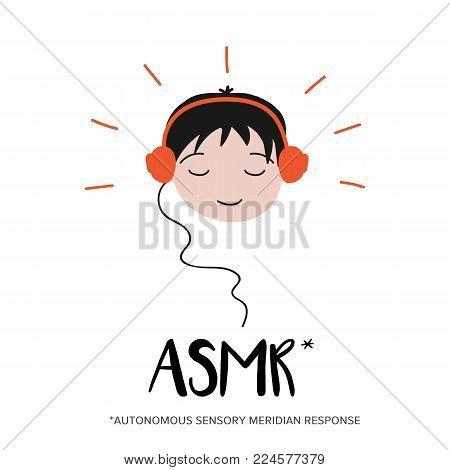 Boy enjoying sounds, triggers of ASMR content in his headphones.