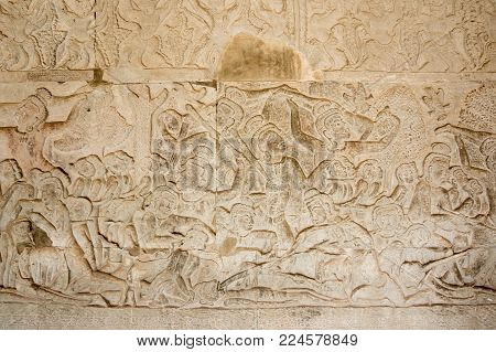 A Bas-Relief Statue of Khmer Culture in Angkor Wat, Cambodia