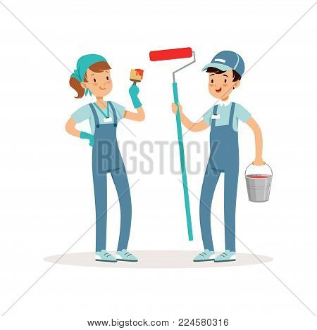 Two cheerful volunteers with paint bucket, brush and roller in hands. Social workers. Boy and girl in blue working overalls ready to work. Cartoon pupils characters. Colorful flat vector illustration.