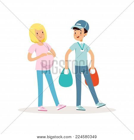 Teen boy helping pregnant woman with shopping packages. Cartoon kid character in blue cap, t-shirt and jeans. Teenager carrying bags with groceries. Volunteering concept. Isolated flat vector design