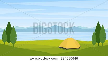 Vector illustration: Landscape with lake or bay, tend and mountains on horizon