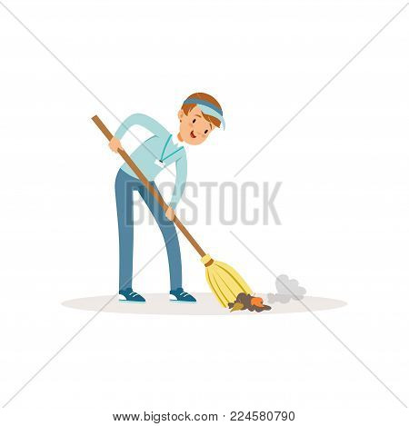 Cheerful boy sweeping trash using broom. Save Earth. Teenager wearing blue cap, jeans and shirt. Cartoon kid cleaning garbage. Volunteering concept. Social activist. Isolated flat vector illustration.
