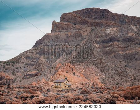 Amazing view of  Las Canadas and The Roque Cinchado in Tenerife, Canary Islands , Spain . Its must-see of everyone who visits Tenerife. Beautiful unearthly landscape background.
