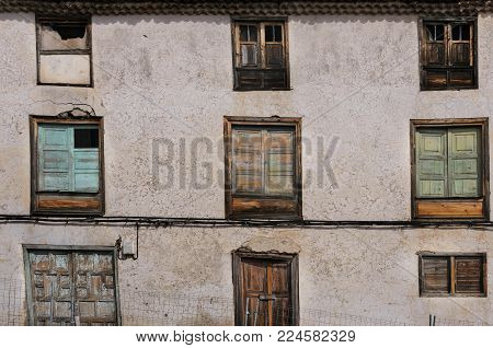 Old  windows of antic building in center of in the town of Vilaflor, Tenerife, Canary Islands. Architecture detail for background or texture.