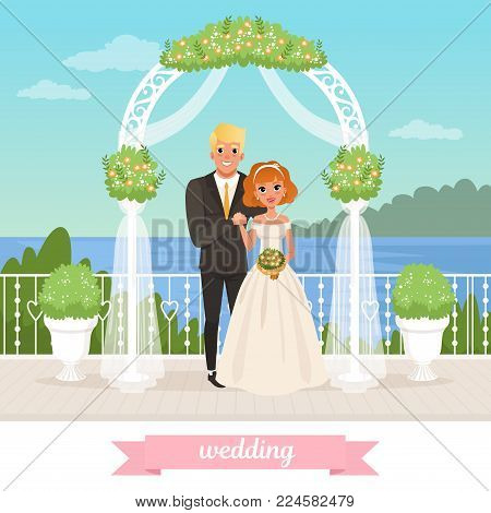 Bride and groom standing under floral arch. Wedding celebration. Couple in love. Cartoon woman in white dress, man in classic black suit. Sea, blue sky and nature on background. Flat vector design.
