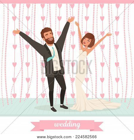 Happy married couple having fun on dance floor with hand up. Wedding celebration. Bearded groom in classic black suit, bride in long white dress. Cartoon people characters. Flat vector illustration.