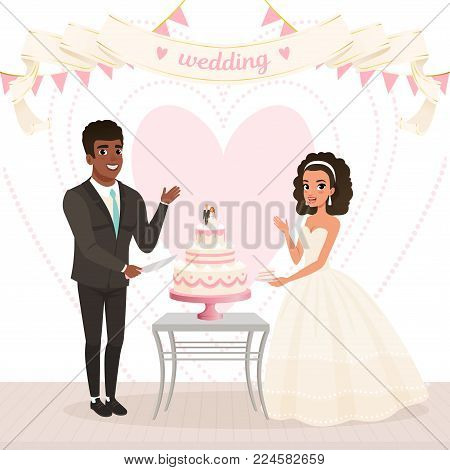 Cartoon caucasian bride and afro-american groom cutting wedding cake. Happy day. Young couple in love. Woman in lush white dress, man in classic black suit. Big heart on background. Flat vector design