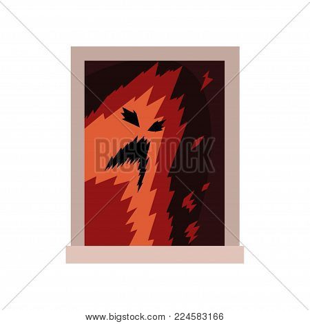Terrible monster in window. Scary ghost silhouette with black eyes and mouth. View from the street. Exterior detail element. Halloween concept. Flat vector illustration isolated on white background.