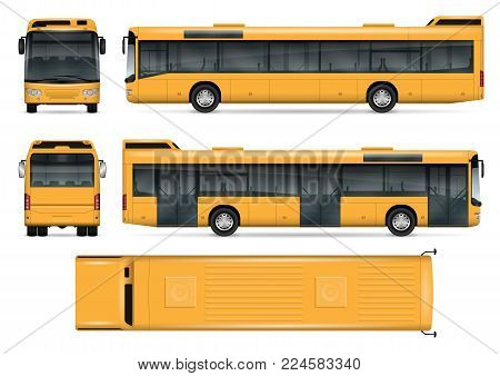 Bus vector mock-up. Isolated template of the bus on white background. Vehicle branding mockup. Side, front, back, top view. All elements in the groups on separate layers. Easy to edit and recolor.