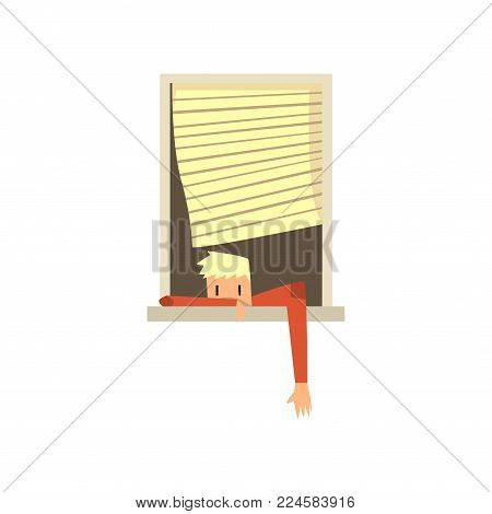 Young guy lying on window with his hand out. Jalousie moving on wind. Cartoon blond teen in red sweater. Architecture detail element. Colorful vector illustration in flat style isolated on white.