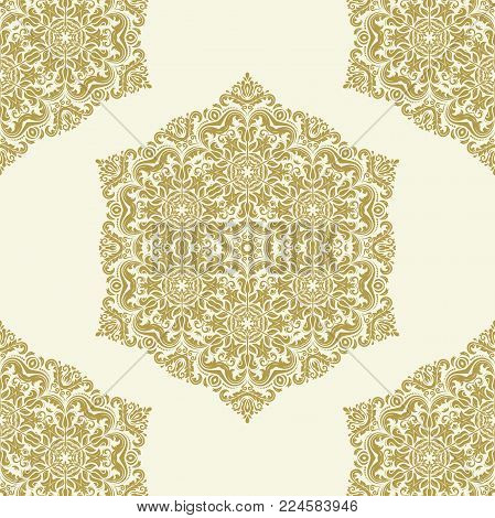 Orient vector classic golden round pattern. Seamless abstract background with vintage elements. Orient background