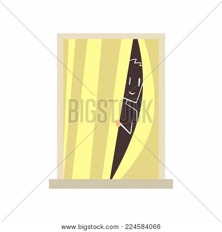 Silhouette of man looking through closed curtains. View on apartment window from street. Architecture detail element. Building facade. Colorful flat vector illustration isolated on white background