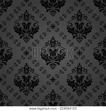Classic seamless dark vector pattern. Damask orient ornament. Classic vintage background