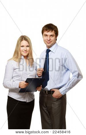 Businesspartners standing isolated on white background