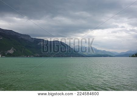 View of the lake of Annecy, capital of Haute Savoie province in France