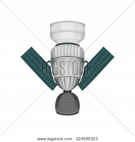 Detailed communication cosmos satellite with solar panels. Large space station for astronauts. Galaxy theme. Modern flying technology. Colorful vector design in flat style isolated on white background