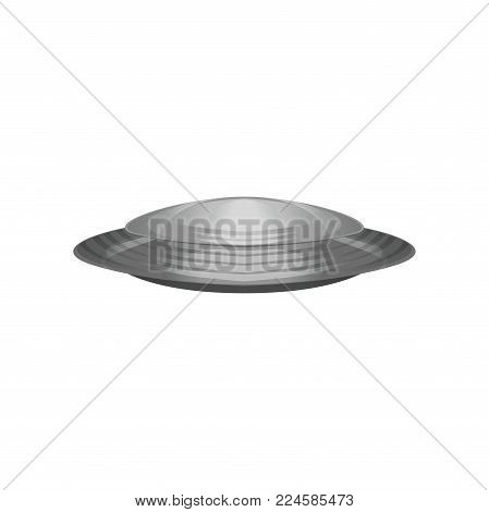 Extraterrestrial spacecraft in disc shape. Silver unidentified flying object. Futuristic alien vessel. Galaxy, cosmos theme. Colorful vector illustration in flat style isolated on white background.