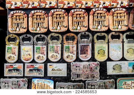 Souvenir Magnets For Sale From Petra. Jordan