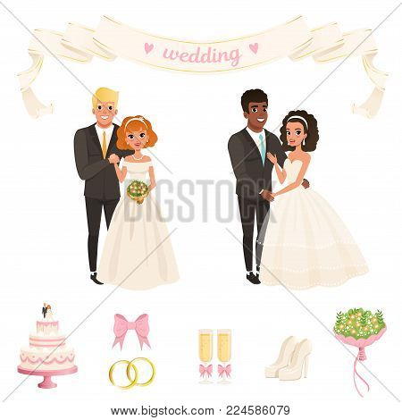 Cartoon brides in lush white dresses, grooms in classic black suits with ties. Two lovely couples. Wedding accessories bow, rings, glasses with champagne, flowers, cake, shoes. Flat vector design.
