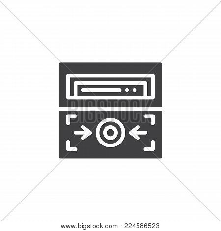 Fire alarm button icon vector, filled flat sign, solid pictogram isolated on white. Emergency system symbol, logo illustration.