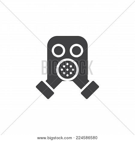 Firefighter mask icon vector, filled flat sign, solid pictogram isolated on white. Respirator, gas mask symbol, logo illustration.