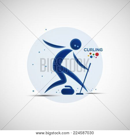 Curling championship banner. Winter sports icon. Abstract sportsman silhouette. Vector illustration of curling player sliding with broom near the stone for your design