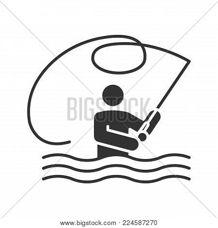 Fly fishing glyph icon. Fisherman. Man with fishing rod. Silhouette symbol. Negative space. Vector isolated illustration