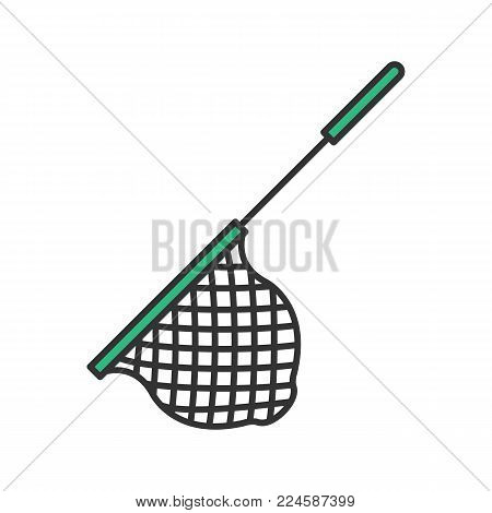 Scoop net color icon. Fishing gear. Hoop net. Isolated vector illustration