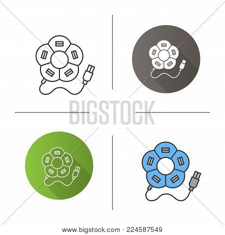 Flower shape USB hub icon. Flat design, linear and color styles. Multi plug. Isolated vector illustrations