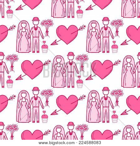 Heart sharp vector wedding couple seamless pattern background pink color card beautiful celebrate bright emoticon symbol holiday abstract art decoration. Romance shape design love amour.
