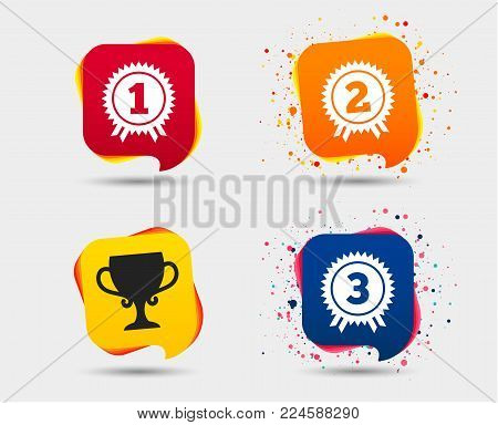 First, second and third place icons. Award medals sign symbols. Prize cup for winner. Speech bubbles or chat symbols. Colored elements. Vector