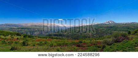 Landscape view to mountains and Kadisha Valley aka Holy Valley, Lebanon