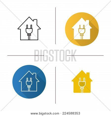 House with wire plug icon. Flat design, linear and glyph color styles. Home electrification. Isolated vector illustrations