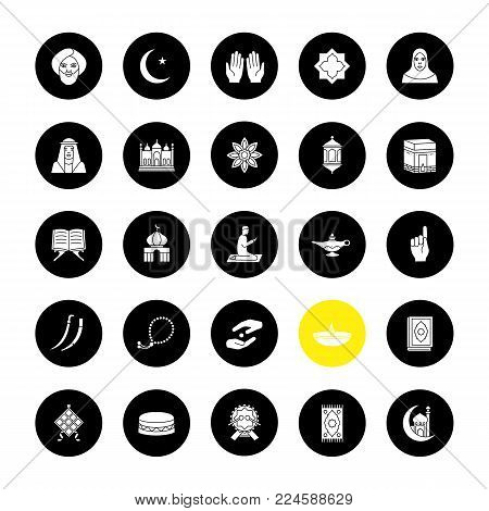 Islamic culture glyph icons set. Muslim attributes. Religion symbolism. Vector white silhouettes illustrations in black circles